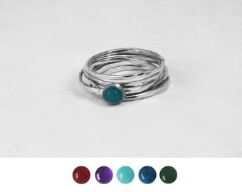 Hammered Sterling Silver Stacking Rings with Gem