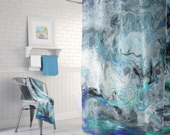 Blue and Black Marble Shower Curtain - Shore Break Ocean teal, aqua, black,  paint marbling,  modern unisex unique, home decor bathroom
