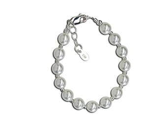 Sterling Silver Swarovski Pearl Bracelet for Girls in Gift Box (Chunky Couture)
