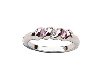 Sterling Silver Baby Ring with Pink and White Sapphire for Girls (TCR-03)