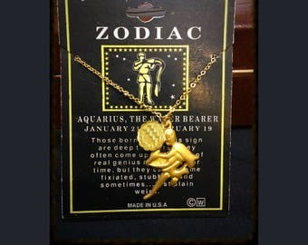 Deadstock 1970's Aquarious, The Water Bearer Zodiac Necklace, Vintage Aquarius Astrology Necklace, 1970's Aquarius Jewelry