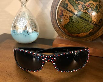 Patriotic hand painted sunglasses-red white and blue!