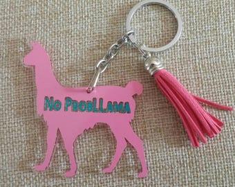 Llama Keychain with Tassel-Llama Acrylic Keychain-Llama Backpack Zipper Pull- No Probllama Keychain