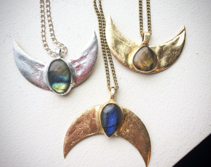 Labradorite Crescent Moon Necklace