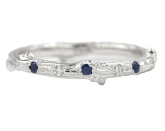 Twig ring with scattered sapphires and diamonds in 14kt gold