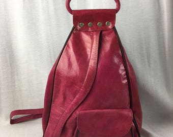 Handcrafted Leather Backpack Purse Pink
