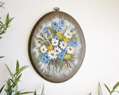 Vintage Floral Wall Plaque, Oval Wood Flower Painting, Hand Painted Wall Art, Gallery Wall, Botanical Art