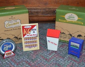 Hallmark Kiddie Car Corner Collection Sidewalk Sales Signs, Newspaper Box and Trash Can