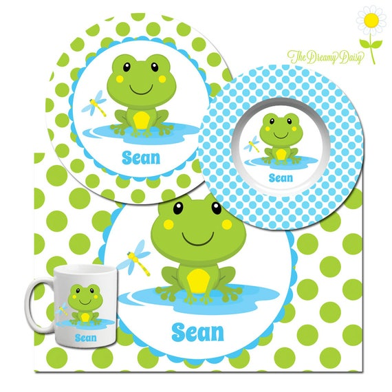Like this item?  sc 1 st  Etsy & Personalized Plate for Kids Frog Plate Bowl Mug \u0026 Placemat