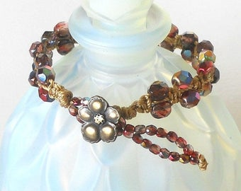 OFF 40% SALE - Raspberry Knotted Bracelet, Macrame Bracelet, Magic Raspberry Czech Glass Beads, Fuchsia Boho Bracelet - FREE Shipping