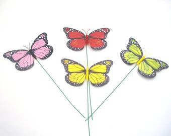 12 Pcs Monarch Butterfly on Wires Tie,Christmas decor,Decoration,Wedding Crafts,Floral Flower Arrangement,Centerpiece,Red,Green,Yellow,Pink