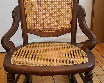 Early 1900s Small Ladies Maple Caned Rocking Chair/Vintage Furniture/Home Decor