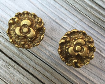 SALE Amerock Brass Drawer Pull Set of 2 Door Pull Hollywood Regency Bright Brass Finish  New Old Stock