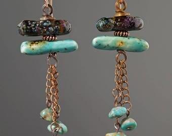 Glass earrings, boho gypsy earrings, lampwork earrings, brown and teal earrings, lampwork jewelry, Boho earrings, OOAK glass earrings