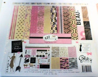 "Glitz Design ""All Dolled Up"" 12"" x 12"" Collection Kit and extra papers"