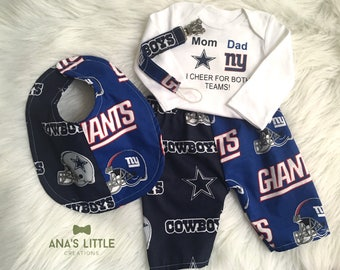 Custom House Divided (Dallas Cowboys- New York Giants) I Cheer For Both Teams and Pants or Shorts Bib 4pc Set