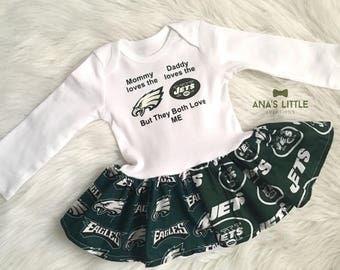 Custom House Divided Football Bodysuit Dress ( New York Jets - Philadelphia Eagles ) But They Both Love Me