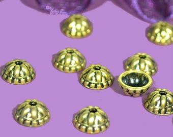 10 cups 07mm diam round antique gold