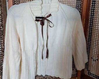 1950s cream bed jacket/ cardigan.