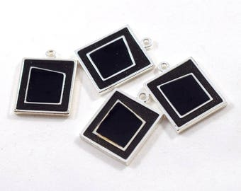 Beads, 4 Square Black and Silver Charms, Silver Charms, Square Charms