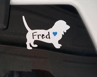 Basset Hound, car Decal, Basset Dog Decal, Sticker,