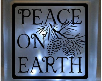 Peace on Earth Christmas vinyl decal DIY for glass block