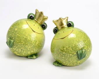 Pair of frog statues, ceramic, height 5,1 inches