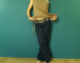 """wide pants in linen and Navy blue cotton and belt """"pirate"""" in Japanese cotton"""