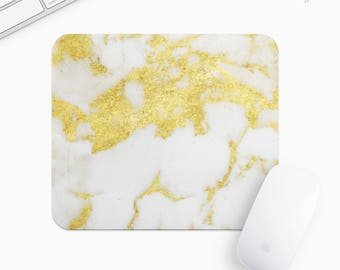 Marble Mouse Pad, Golden Marble Mousepad, Rectangle or Round, Gifts for Women, Gift mp0032