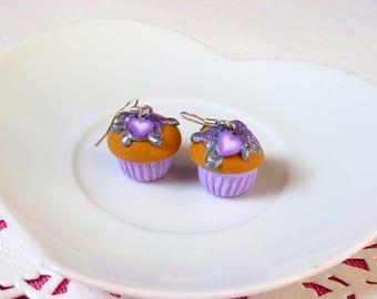 Earrings gourmet purple cupcake