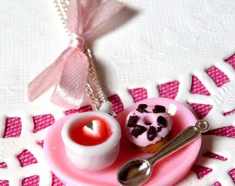 Necklace snack Tearoom, Teacup pink Strawberry and donuts