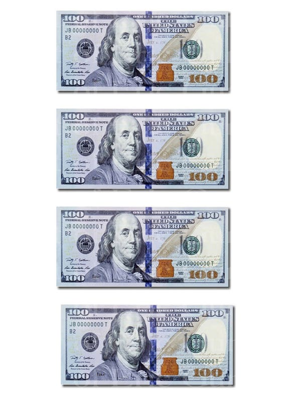 100 Dollar Bills Birthday - Edible Cake and Cupcake Topper For Birthday's and Parties! - D22513