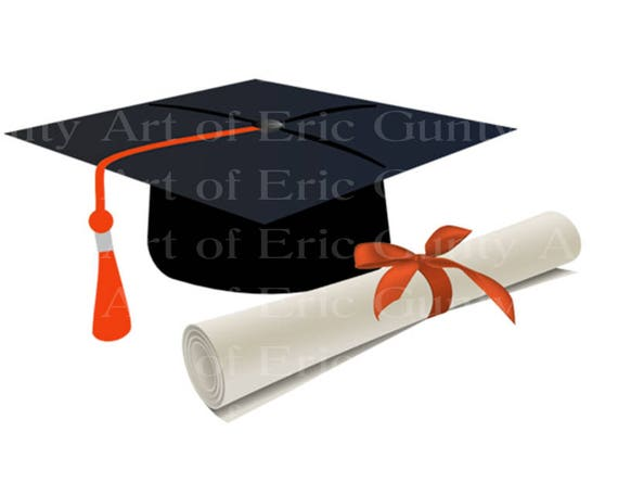 Orange Graduation Cap & Diploma - Edible Cake and Cupcake Topper For Birthday's and Parties! - D22882