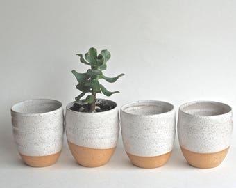Succulent Planters - Handmade Ceramic Planters - Handmade Pottery - Ceramic Cups - Ceramic Flower Pot - White Planters - Rustic planters