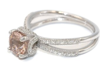 Delicieux Morganite Ring, Diamond Ring, Engagement Ring, White Gold Ring, Disney  Princess Cinderella