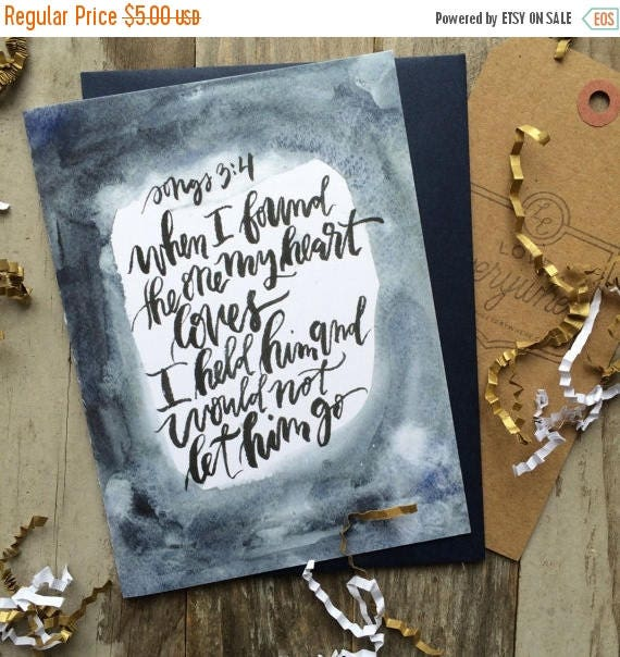 ON SALE Biblical Valentine's Day card, Christian husband, love card, Song of Songs,  anniversary card, when I found the one my heart loves