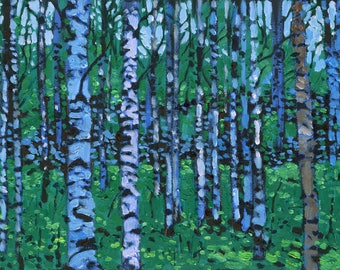 Birches (Green) (Print)