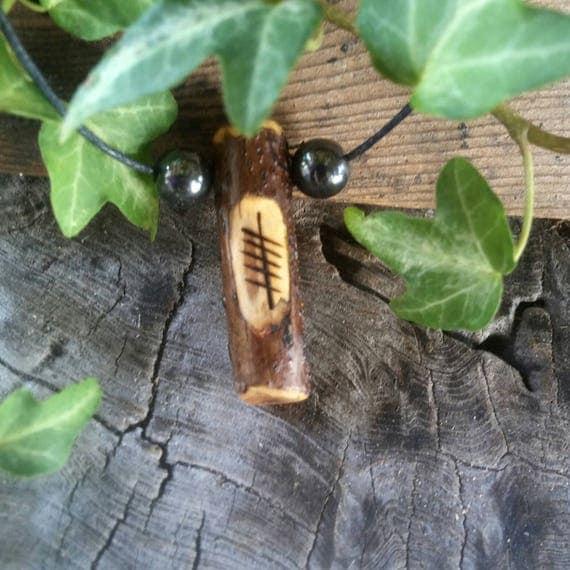 Elder Wood Ogham Pendant, Elder Wood Amulet Necklace, Birth Tree Ogham Pendant, Adjustable Necklace, Ogham Pendant, Amulet Necklace