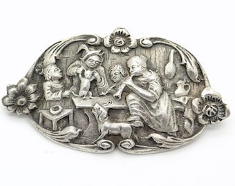 Large Antique Dutch 835 Silver Pin Brooch, Humourous Genre Scene, Musicians, Dancing Cat, Old Tavern, 1800s Victorian Jewelry