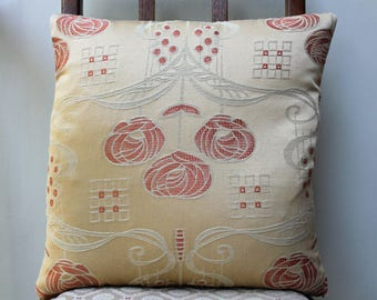 "Cushion in Charles Rennie Mackintosh Roses Fabric 15"" x 15"""