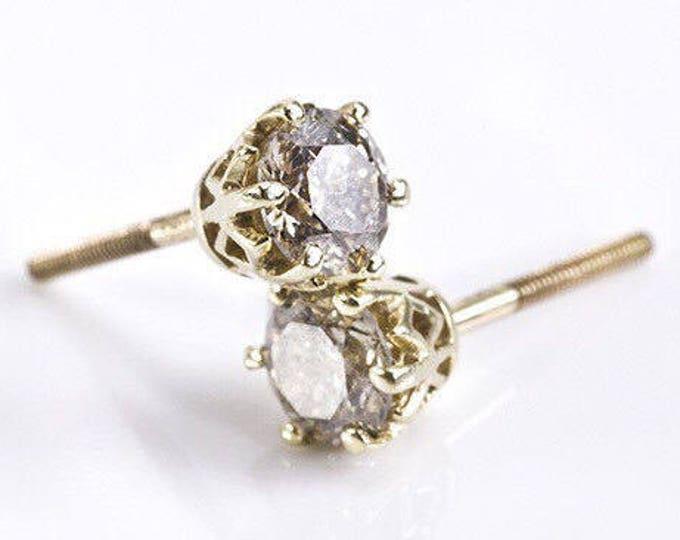 2 carat Diamond Earrings-Yellow Gold Earrings-Diamond Stud Earrings-Women Jewelry-Round diamond earrings-Anniversary present-Stud earrings