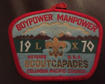 BSA Boypower Manpower 1970 Scoutcapades Columbia Pacific Council patch