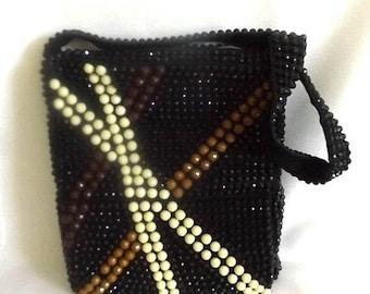 End of Summer SALE 1960s Beaded Boho Purse - Black Sparkly Shoulder Bag - Brown, Beige, and Black Faceted Beads - Made in Hong Kong - Richar