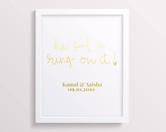 Be put a ring on it - personalised engagement gift - engagement print