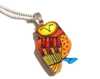 Cute Owl Gift For Her, Owl Pendant Necklace, Unique Owl Jewellery, Owl Lover Gift, Girls Owl Necklace, Owl Totem Necklace, Gift For Women.