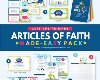 Articles of Faith Kit - 2018 LDS Primary Theme