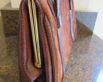 Vintage 1960's 'Weymouth American' Handbag MADE IN ENGLAND Burnt Orange Suede & Reptileskin