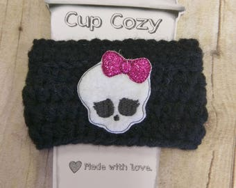 Sugar skull coffee cup holder, crochet cup holder, skull gift, halloween gift, cup cozy, secret santa, stocking stuffer