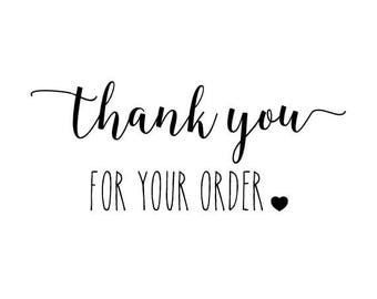"Thank You For Your Order Stamp, envelope stamp, packaging stamp, label stamp, stationery stamp, business stamp, thank you, 1.6""x0.8"" (txt7)"