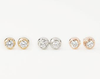 14k diamond round studs earrings, yellow, white, rose gold, 2.5mm diamond, dainty everyday earring, minimalist earring, dal-e101-2.5mm-dia